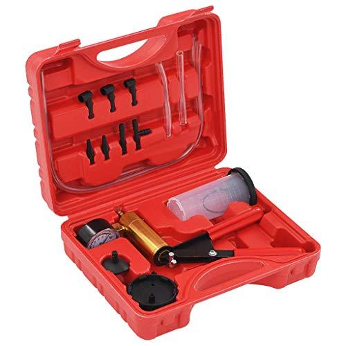 vidaXL Vakuumpumpe Bremsflüssigkeit Entlüfter Bremsenentlüfter Unterdruckpumpe Vakuum PKW Pumpe Vakuumtester Set 0-76cm hg Ca. 120 ml