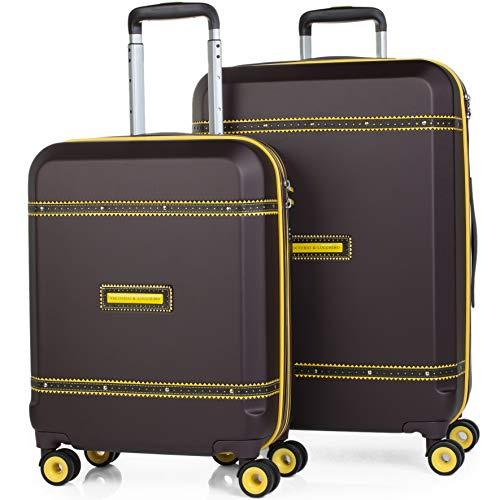 VICTORIO & LUCCHINO - 56000 Set 2 Maletas trolley 50/60 cm ABS con embellecedor. Rígidas, ligeras y resistentes. Mango telescópico, 2 asas 4 ruedas. Candado TSA integrado., Color Marron
