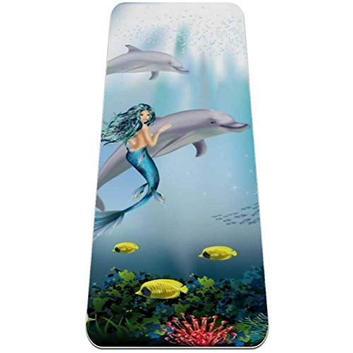 Yoga Mat Non Slip TPE Mermaid Dolphin Coral High Density Padding to Avoid Sore Knees,Perfect for Yoga, Pilates and Fitness