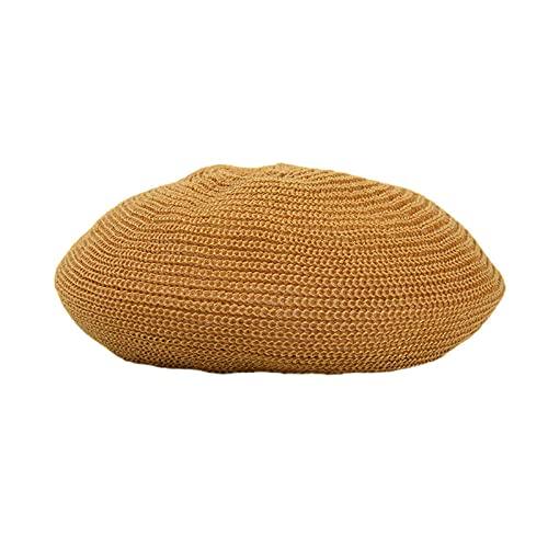 WQZYY&ASDCD Boinas Sombreros Gorras Boina De Moda para Mujer, Color Sólido, Simple, Ligero, Transpirable, Casual, Retro, Simple Hat-Yellow_M (56-58Cm)