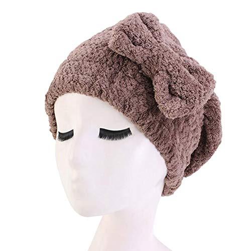 TININNA Serviette Cheveux Turban Bonnet de Bain Bonnet de Douche pour Femme Chapeau de Cheveux Secs Spa Chapeau de Bain Microfibre Mignonne Bowknot Élastique Épaissi Chapeau de Soins Capillaires,Café