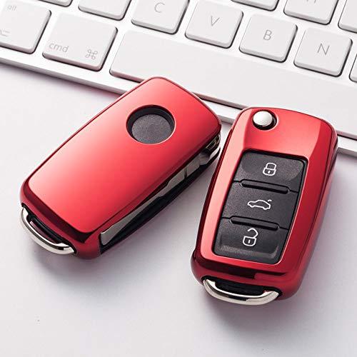 Cubierta de la llave del coche, suave TPU protector de la llave del coche, funda protectora de la llave del coche para VW nuevo Passat Lavida Tiguan coche, A, rojo