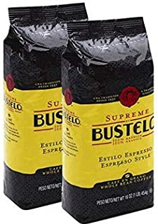 Bustelo Supreme Whole Bean Coffee Cafe. 2 pack. 1 pound each