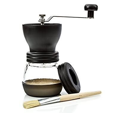Morning Ground Manual Coffee Grinder with Lid and Cleaning Brush - Premium Burr Grinder for Coffee Lovers