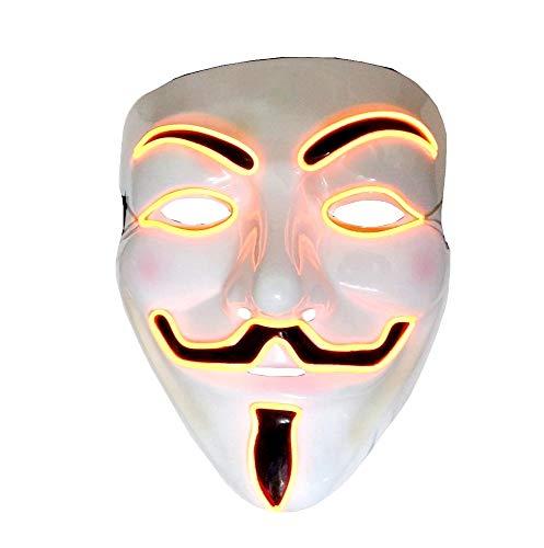 Maschera V x Vendetta Anonymous Costume Carnevale LED Luminoso Arancione Adulti Idea Regalo Natale Compleanno Festa