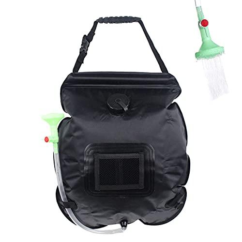 Sailsbury Bolsa de ducha solar portátil para exteriores, bolsa de agua extraíble con cabezal de ducha para camping, senderismo, escalada, playa, natación, viajes al aire libre, bolsa de ducha de 20 l