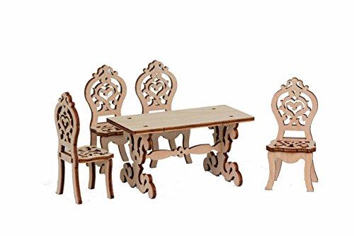 Drechslerei Kuhnert - Hobaku Bastelset - Puppenmöbel mit Sitzgruppe - aus Holz zum Zusammenbauen - Made in Germany