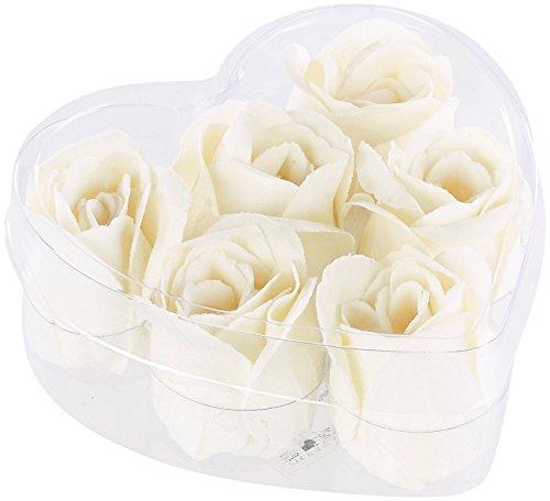 PEARL Baderosen: 6 cremeweiße Rosen-Duftseifen in Geschenk-Box (Duftrosen)