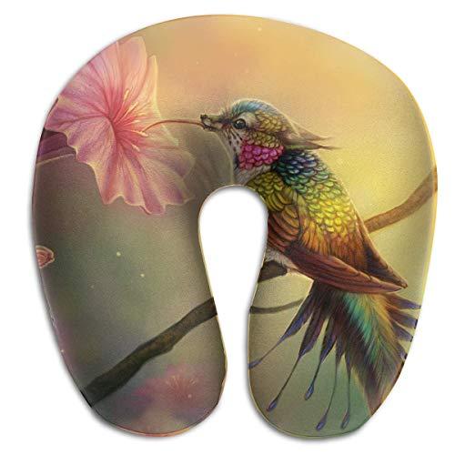 Almohada para el Cuello Patrón de colibrí Viaje Almohada en Forma de U Memoria Suave Soporte para el Cuello para Tren Avión Dormir