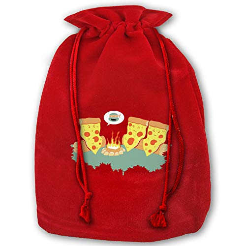 Reusable Santa Gift Pizza Campfire Story Christmas Bags, Present Bag with Drawstring Candy Pouch Red