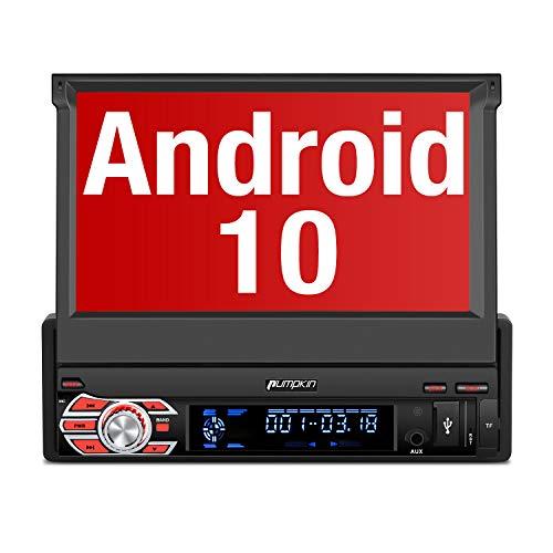 PUMPKIN Android 10 Autoradio 1 Din Radio mit Navi Ausfahrbares Touchscreen Unterstützt Bluetooth DAB+ DSP Android Auto WiFi 4G USB MicroSD 7 Zoll Universal