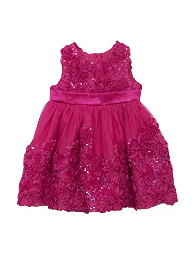 Rare Editions Baby Girl Fuchsia Sequin Soutache Special Occasion Dress (3m-12m) (6-9 Months)
