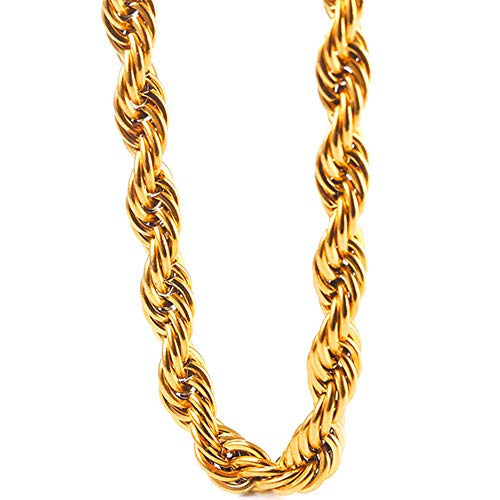 TUOKAY Sparkling Big Faux 18K Gold Rope Chain for Men and Women 30in Long by 11mm Thick Heavy Huge Faux Gold Rope Chain Costume Necklace for Rapper and Rap Gangsta