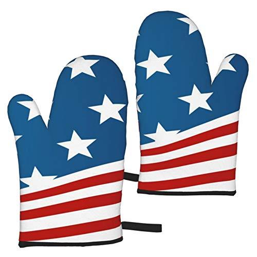 linranshangmao Guantes de horno de la bandera americana resistentes al calor guantes impermeables para cocina