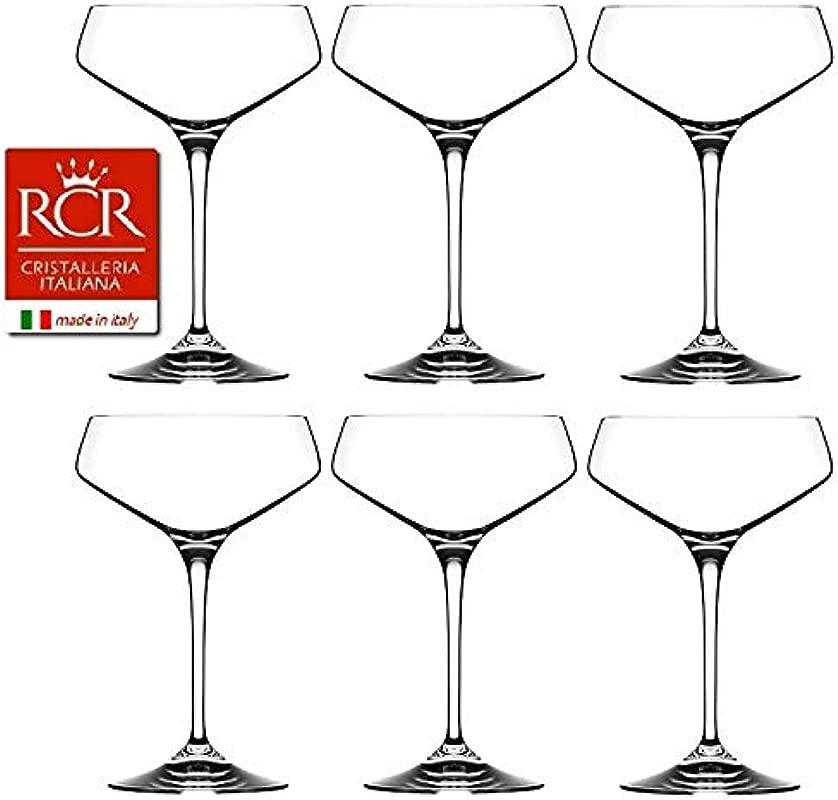 RCR Cristalleria Italiana Aria Collection 6 Piece Crystal Wine Glass Set Champagne Coupe 11 25 Oz