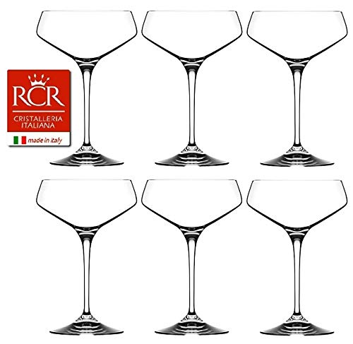 RCR Cristalleria Italiana Aria Collection 6 Piece Crystal Wine Glass Set (Champagne Coupe (11.25 oz))