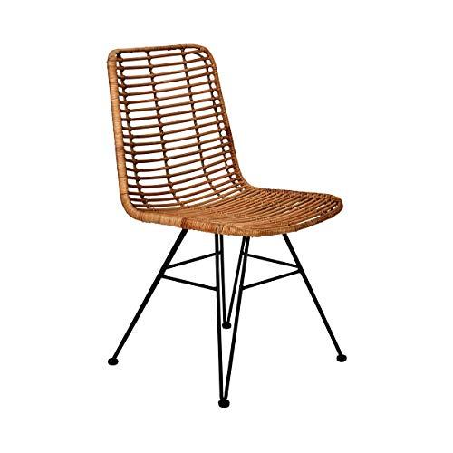 Butlers Hacienda Rattan-Stuhl - Schöne Sitzgelegenheit in modernem Design - Wohnideen für Küche oder Esszimmer - aus Rattan und Eisen