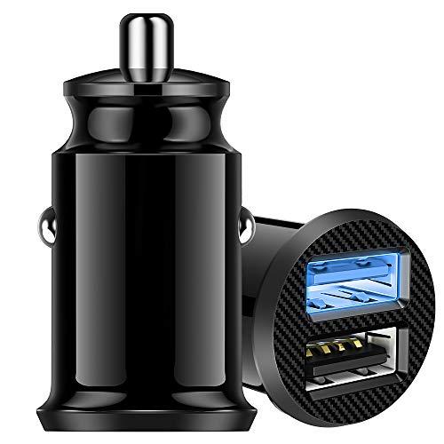 Warxin Caricabatterie da Auto USB, Caricabatteria per Auto 2 Porte 24W 4.8A, Mini Alluminio Caricatore Adattatore Universale per iPhone iPad Samsung Huawei Xiaomi Smartphone Tablet ECC - Nero