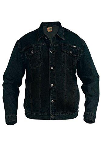 Duke London Veste en Denim pour homme Taille XXXL, XXXXL, XXXXXL, avec braguette à boutons pour homme Coton Noir, Noir - Noir, XXXXXX-Large