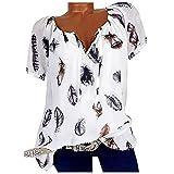 Maglietta da donna a maniche corte, con scollo a V, stampa floreale, taglie forti, oversize bianco XXL