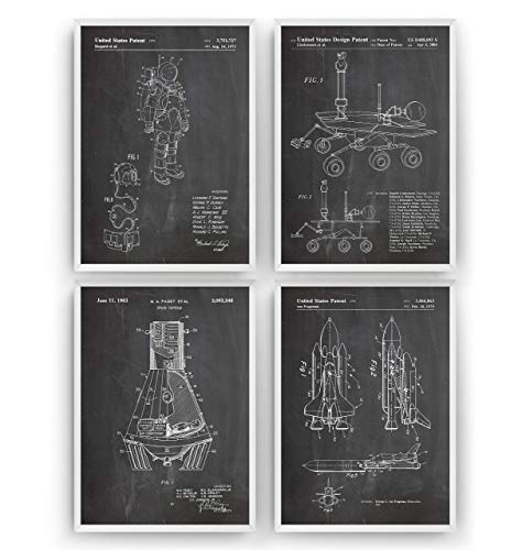 Outer Space Patent Poster - Set Of 4 - Nasa Science Print Gift Astronaut Vintage Blueprint Spaceship Aerospace Wall Art Bedroom Sci-Fi Fan Decor Rocket - Frame Not Included
