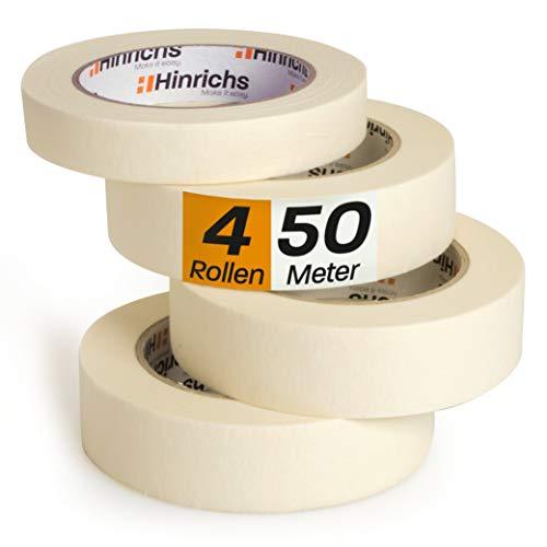 Hinrichs 4 x Kreppband - 3 Rollen 50 m x 30 mm plus 1 Rolle 50 m x 20 mm – Malerkrepp für sauberes Abkleben der Abdeckfolie bei Malerarbeiten