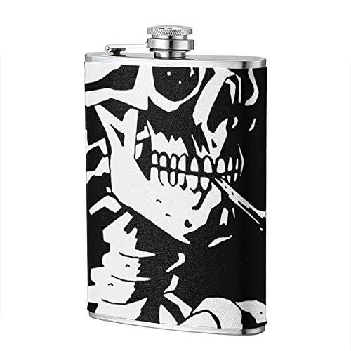 Miedhki Skelett mit brennender Zigarette 8OZ Hüftflasche Pocket Flagon Edelstahlflasche