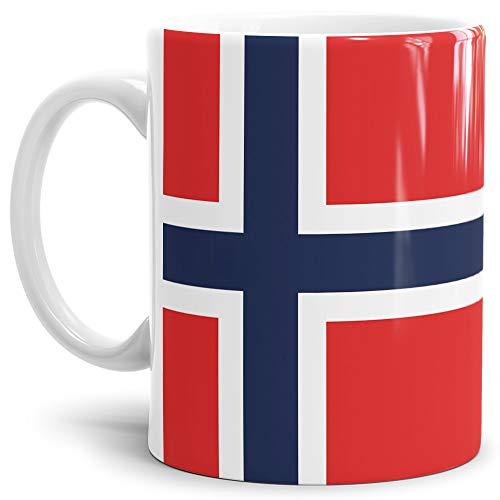 Tassendruck Flaggen-Tasse Norwegen - Kaffeetasse/Mug/Cup - Qualität Made in Germany