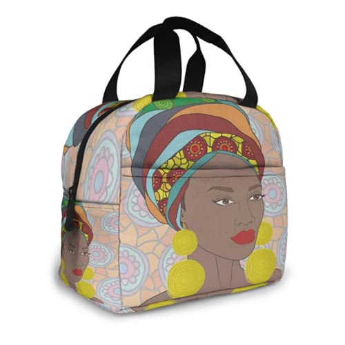 Lunch Box For Men Women Portrait of African Woman with Gold Earrings Insulated Meal Prep Lunch Bag Big Kids Girls Adult Ladies Thermal Cooler Lunch Tote Bag Box Containers Organizer Storage