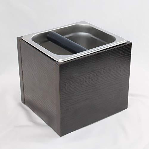 iKALULA Abklopfbehälter für Siebträger, Kaffeesatz Abschlagbehälter Espresso-Klopfbox Stoßdämpfende Knock Box Holz & Edelstahl Kaffee-Klopfbox Barista Zubehör zum Kaffeesatz sammeln & recyceln