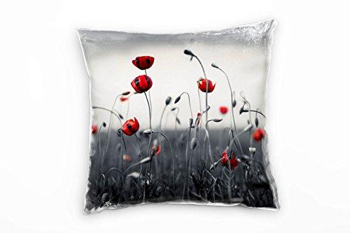 Paul Sinus Art Blumen, Wiese, Mohn, grau, rot Deko Kissen 40x40cm für Couch Sofa Lounge Zierkissen - Dekoration zum Wohlfühlen