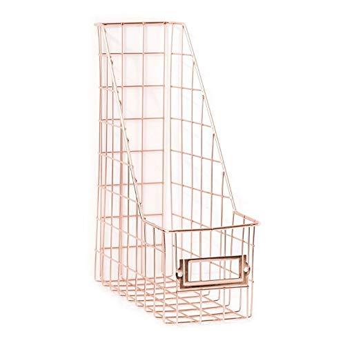 PPuujia Revistero de rejilla de hierro forjado nórdico para archivos, estante de escritorio de una sola capa, estante de almacenamiento para revistas, organizador Dropship (color oro rosa)