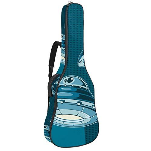 Gitarrentasche für Akustikgitarre, 104 cm, hochwertig, doppelt verstellbar, blaues Raumschiff-Muster