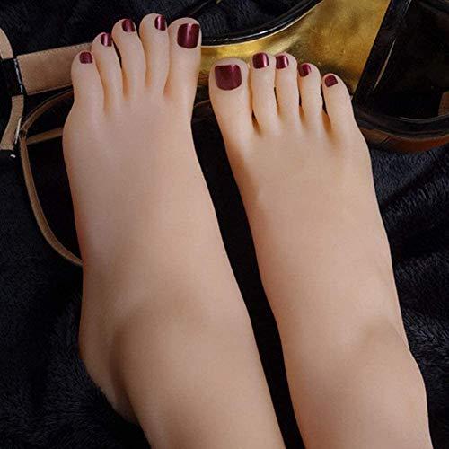 XHH 1 Paar Silikon Füße Mädchen Fuß Mannequin Klone Fußfetisch - Masturbation Fußarbeit - Fußspielzeug -Mädchenfußmodell - Knöchelhobby - Fußkultur Kunstmodell-Simulationsfuß