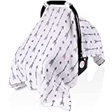 Muslin Cotton Baby Car Seat Canopy for Summer, Rquite Soft Breathable Unisex Large Infant Carseat Cover Newborn Swaddle Blanket Babies Shower Gifts for Boys Girls(Arrow)