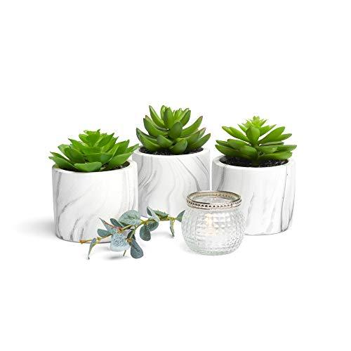 Kurrajong Farmhouse Lifelike Set of 3 Artificial Succulents in pots, 4.5' high, Marble Design Planter pots, feaux Succulents in pots, Artificial Succulent Plants, Beautiful Fake Plant Decor