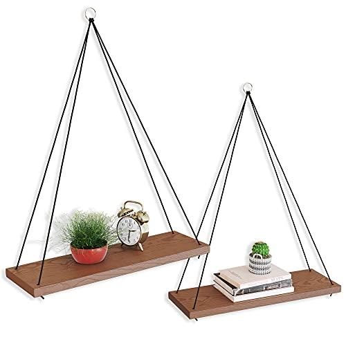 OMYSA Boho Wood Hanging Shelves for Wall [Set of Two w. Gold, Silver & Black Rings] - Window Shelf -...