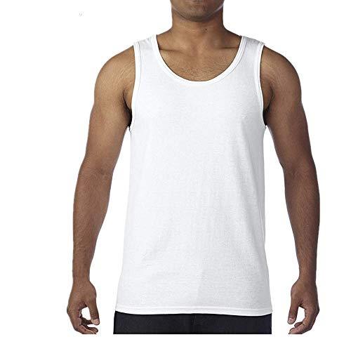 Pure Coton Hommes Couleur unie Respirant Bas Sport Gilet Hommes -  Blanc - L