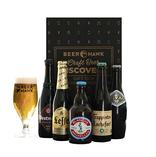 Beer Hawk Belgian & Trappist Discovery Case – 5 Beers and 1 Glass - Belgian and Trappist Beer Gift Hamper