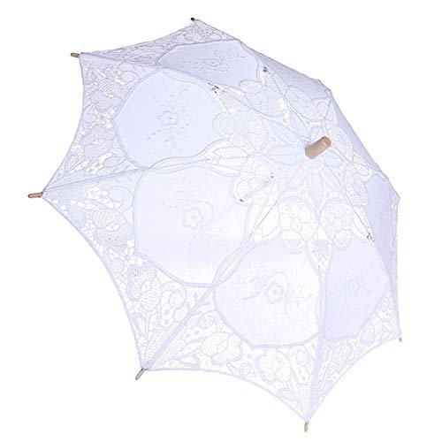 Haofy Spitze Regenschirm Brautschirm Dame Hochzeitsschirm Sonnenschirm Sonnenschirme Holzstickerei Sonnenschirm Hochzeit Braut Fotografie Regenschirm Fotografie Requisiten(L-Weiß1)