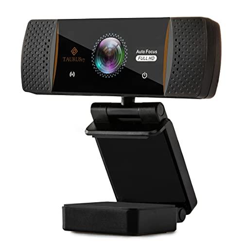 TAURUS17- Webcam per pc, 2021, con Auto Focus, microfono stereo, USB 2.0 Full HD 1080P/30 FPS, OMAGGIO treppiedi e adattatore USB-C, telecamera pc per videochiamate, live per Windows e Mac