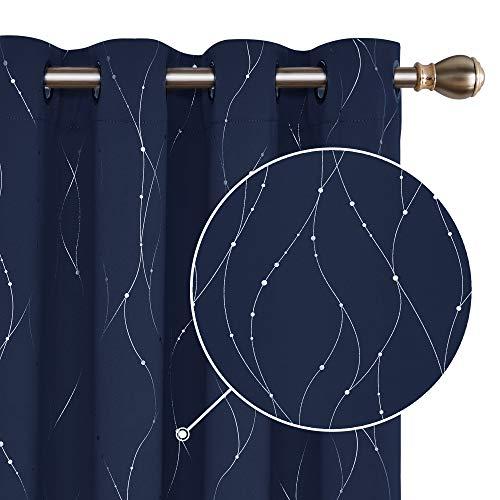 Deconovo Tende Oscuranti Termiche Isolanti Tende Stampate dei Fili con Occhielli per Casa Moderne 2 Pannelli 140x290cm Blu Navy