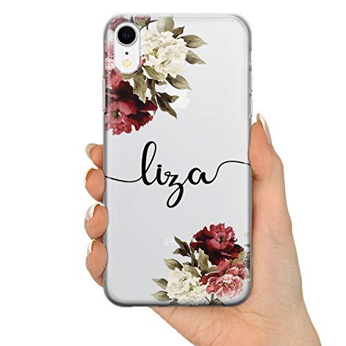 TULLUN Personalisierte Handyhülle für iPhone 7 Plus / 8 Plus - Klare Hartplastik Benutzerdefinierte Blumen Design Name Buchstabe Initialen Name Text - Blumen Signatur Name V2