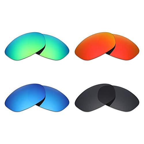Mryok 4 pares de lentes polarizadas de repuesto para gafas de sol Oakley XS Fives – negro/rojo fuego/azul hielo/verde esmeralda