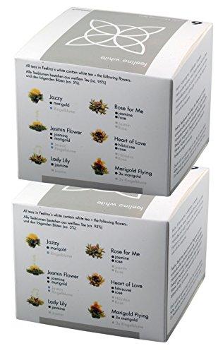 2 Stück der edlen 6er-Box Weißtee-Teeblumen