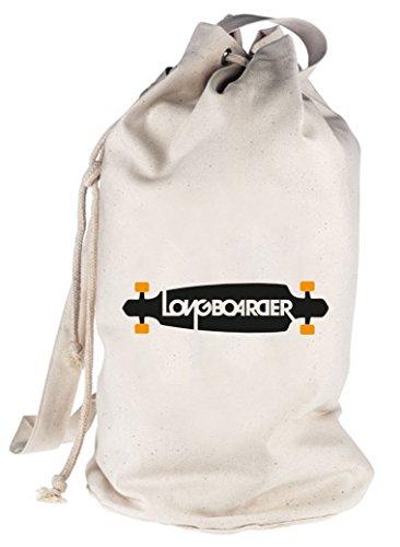 Shirtstreet24, Longboarder, Skateboard bedruckter Seesack Umhängetasche Schultertasche Beutel Bag, Größe: onesize,natur