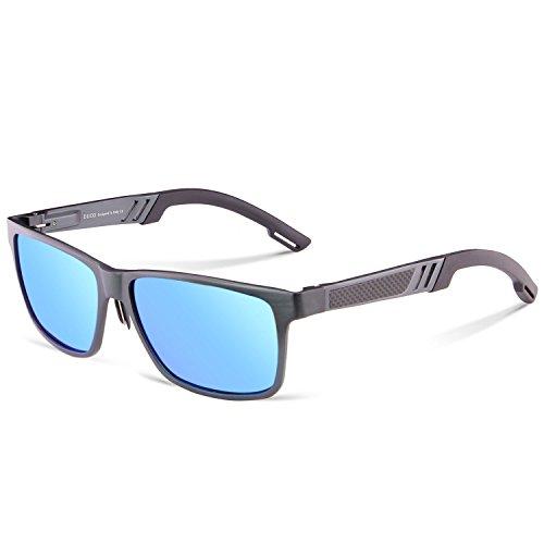 DUCO Rechteckig Sonnenbrille Herren Brille mit Federscharnier, Metallrahmen 2217 (Gunmetal,Blau)