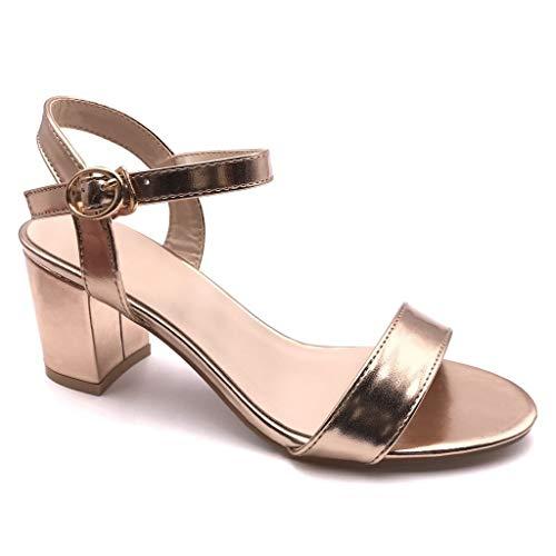 Angkorly - Chaussure Mode Sandale Escarpin Petits Talons Plateforme Ouvert Femme Verni Simple Basique Classique Talon Haut Bloc 7.5 CM - Rose Gold - FC-52 T 39
