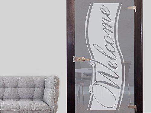 GRAZDesign Fenstertattoo Welcome, Fensterfolie für Flur, Eingang, lichtdurchlässig, Fensterbild / 106x40cm