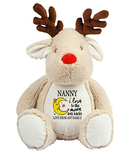 Charo Gifts Personalised Mother's Day NANNY I Love You To The Moon And Back Valentine Day Anniversary Teddy Bear with Huge variation Soft Toy Birthday Secret Santa. (Reindeer)